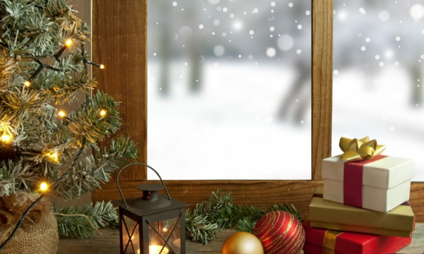 Fensterdeko zu Weihnachten festliche Weihnachtsstimmung