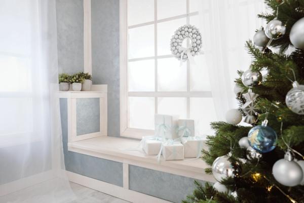Fensterdeko zu Weihnachten komplett in Weiß