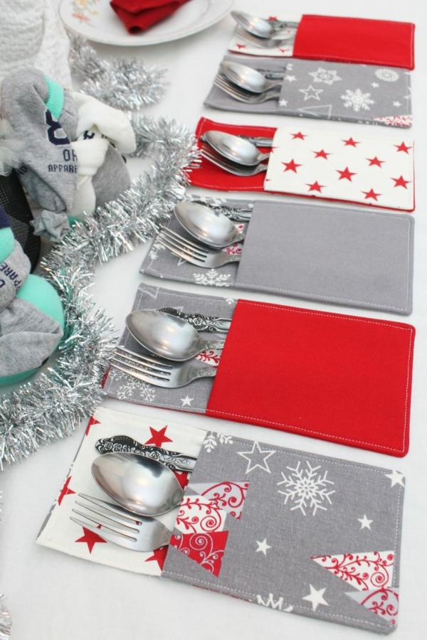 Festliche Bestecktaschen zu Weihnachten selber nähen Anleitung