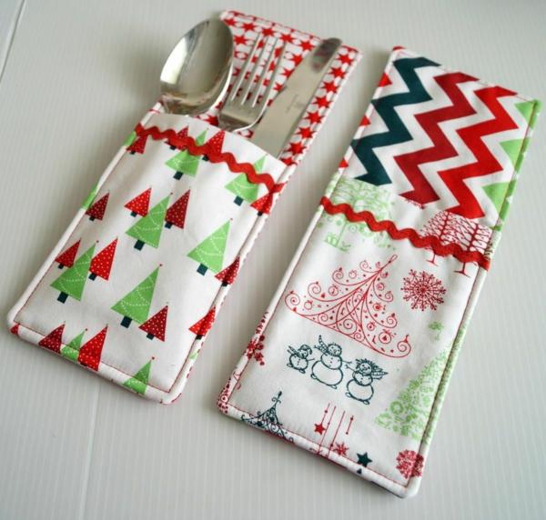 Festliche Bestecktaschen zu Weihnachten selber nähen Muster