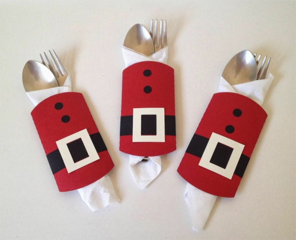 Festliche Bestecktaschen zu Weihnachten selber nähen Santa Klaus