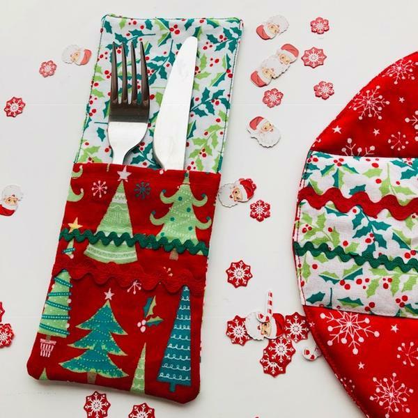 Festliche Bestecktaschen zu Weihnachten selber nähen Tannenbaum Muster