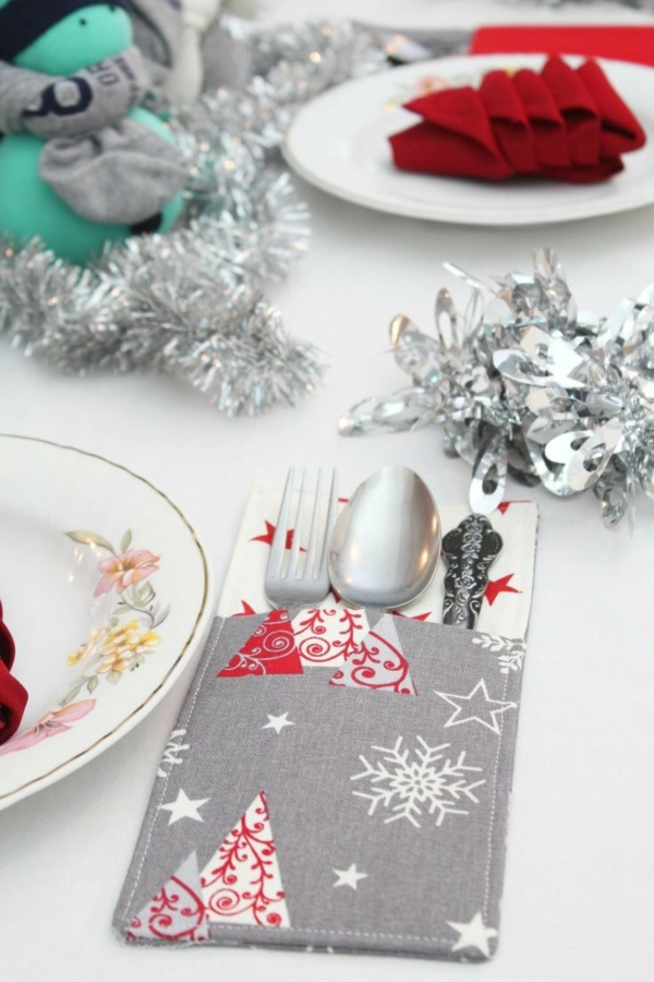 Festliche Bestecktaschen zu Weihnachten selber nähen Tischdeko Ideen