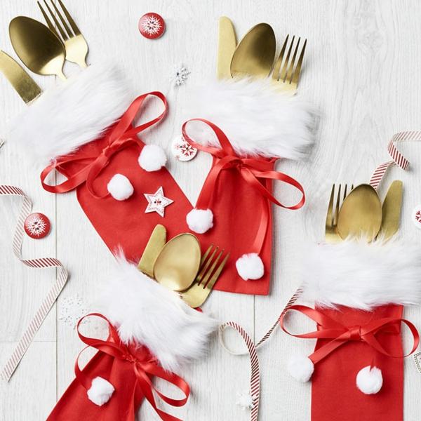 Festliche Bestecktaschen zu Weihnachten selber nähen rot und weiß