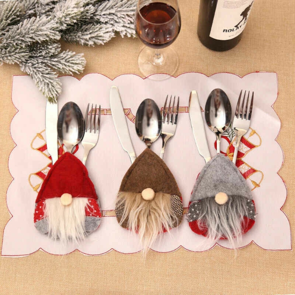 Festliche Bestecktaschen zu Weihnachten selber nähen skandinavischer Stil