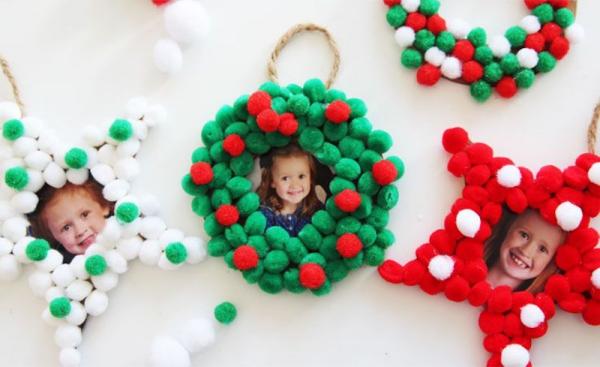 Fotogeschenke basteln zu Weihnachten – kreative Ideen und Anleitung kränze kinder fotos
