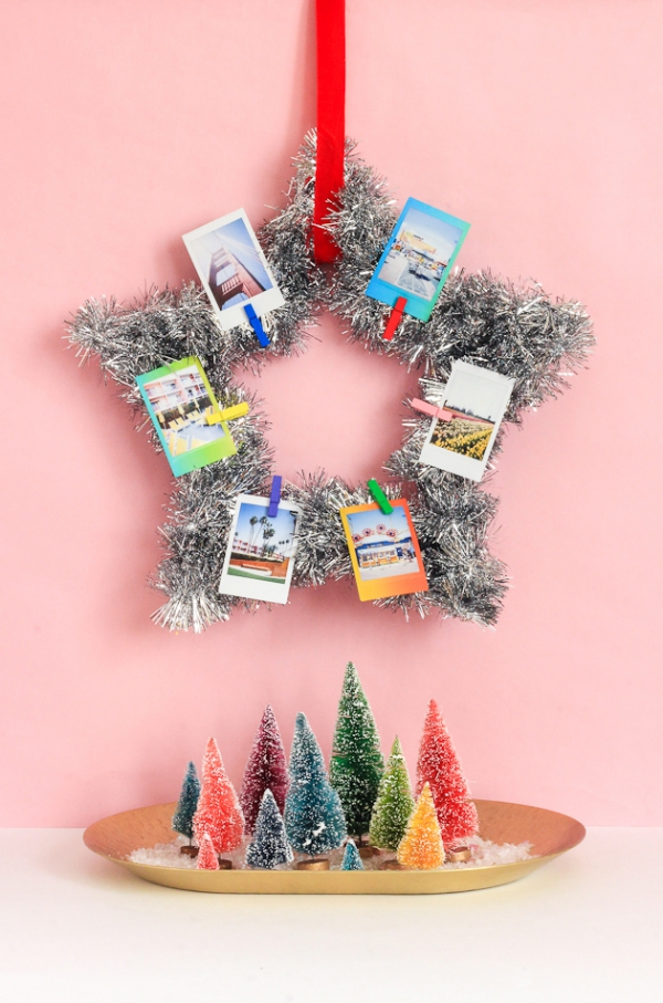 Fotogeschenke basteln zu Weihnachten – kreative Ideen und Anleitung kranz stern deko fotos