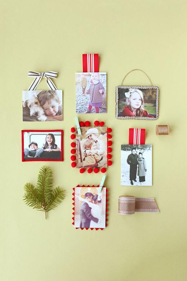 Fotogeschenke basteln zu Weihnachten – kreative Ideen und Anleitung mini foto rahmen bilderwand