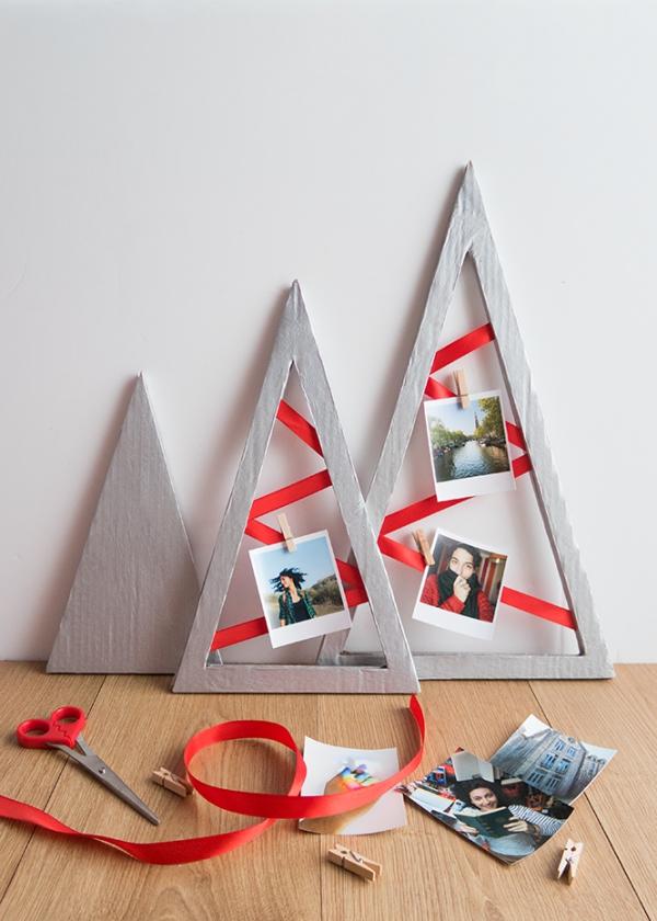 Fotogeschenke basteln zu Weihnachten – kreative Ideen und Anleitung tannenbäume deko wanddeko fotos