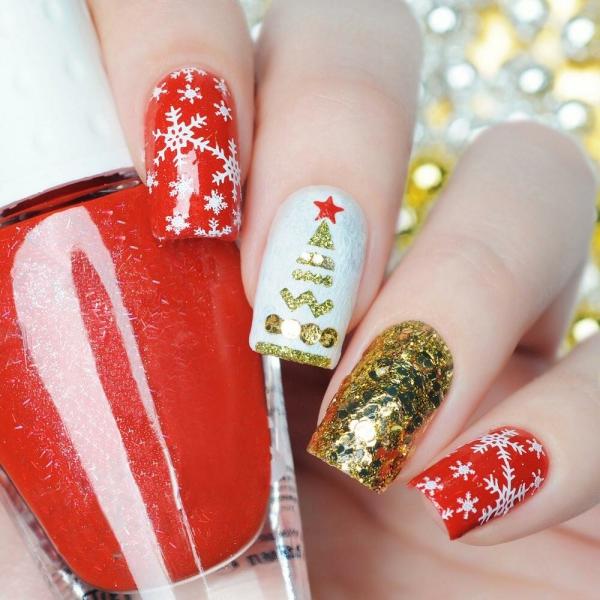 Gelnägel zu Weihnachten – hübsche Ideen und aktuelle Farbtrends rot weiß gold glitzer