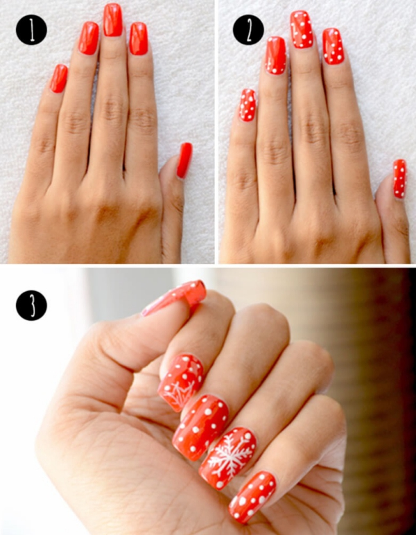 Gelnägel zu Weihnachten – hübsche Ideen und aktuelle Farbtrends rot weiß mainküre schneeflocken