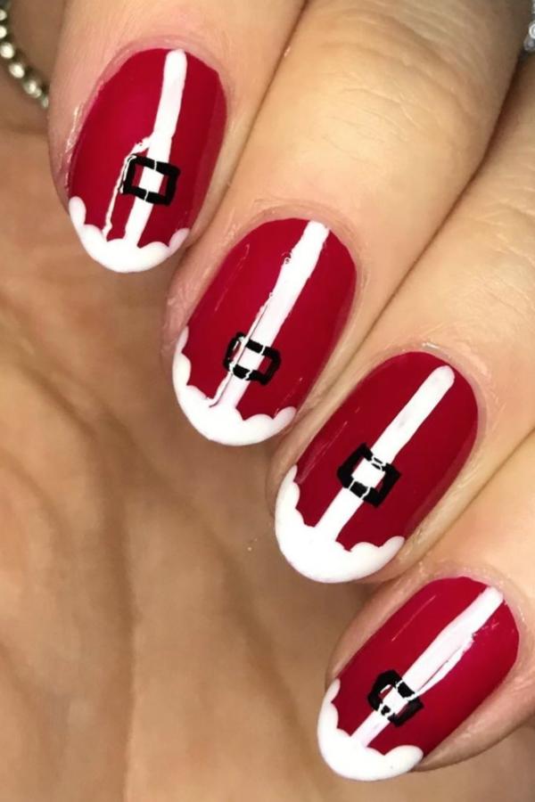 Gelnägel zu Weihnachten – hübsche Ideen und aktuelle Farbtrends rot weiß stilvoll santa