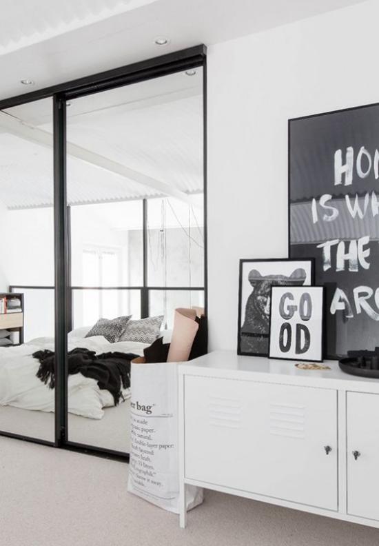 Glaswände im Schlafzimmer Trend zum offenen Wohnen Schlafbereich abgetrennt jedoch hell und offen