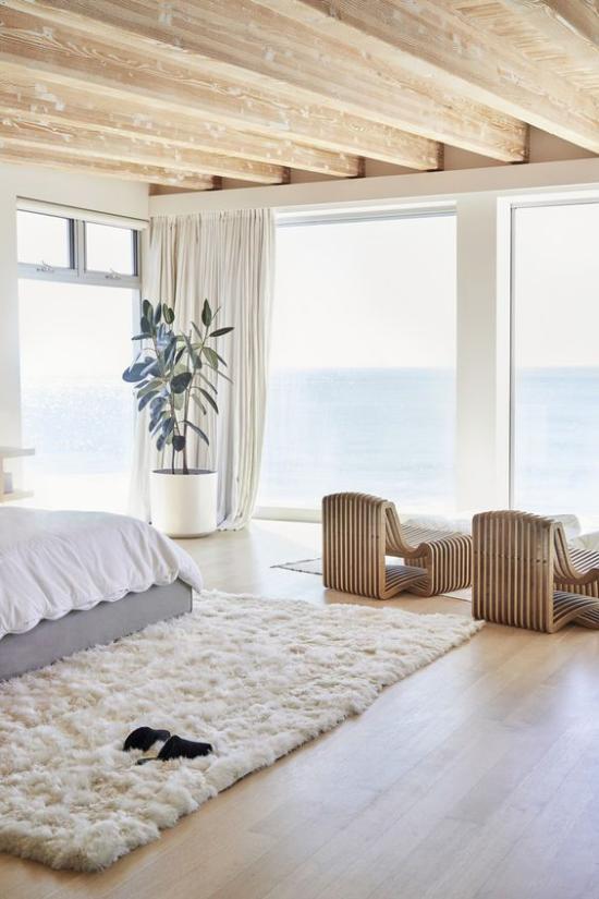 Glaswände im Schlafzimmer herrlicher Blick zum Meer die Helligkeit Gefühl für Leichtigkeit im Schlafraum