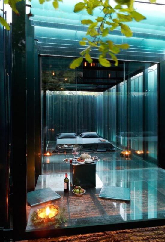 Glaswände im Schlafzimmer schicke Raumgestaltung im japanischen Stil