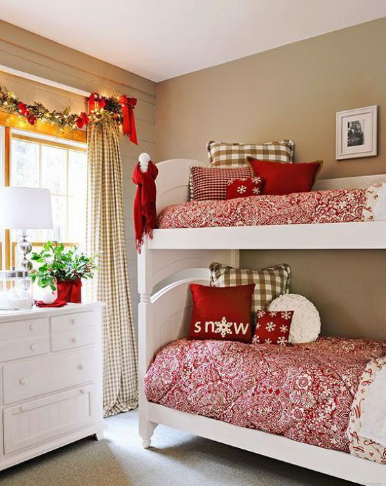 Kinderzimmer weihnachtlich dekorieren ein Mix aus Farben und Texturen jedoch stilvoll