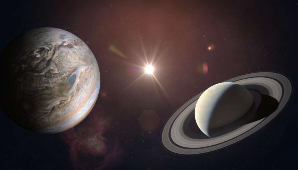 Σύνδεση του Δία και του Κρόνου Μια ματιά στον υπέροχο αστερισμό του έναστρου ουρανού Πλανήτες