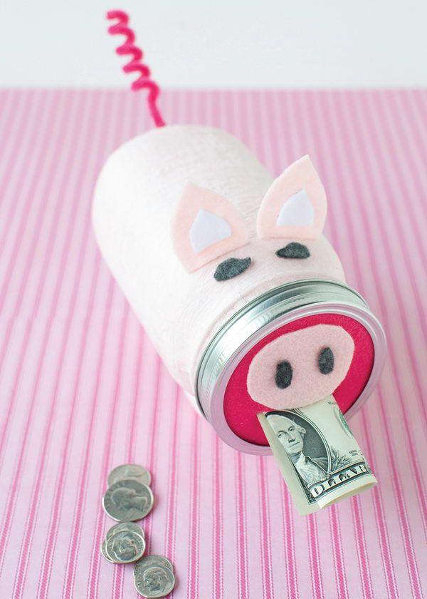 Sparschwein basteln – So haben Sie zu Silvester bestimmt Schwein einmachglas dose geld diy