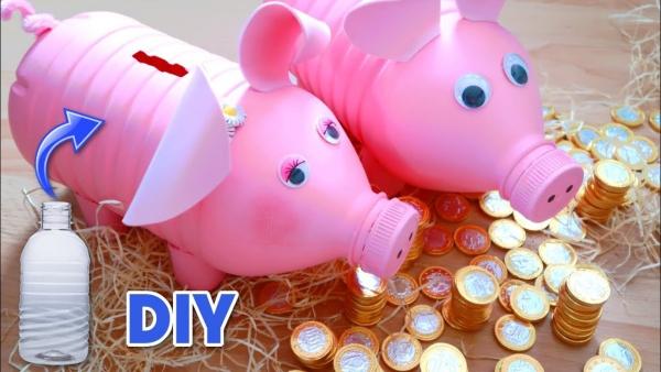 Sparschwein basteln – So haben Sie zu Silvester bestimmt Schwein plastikflaschen dosen schweine