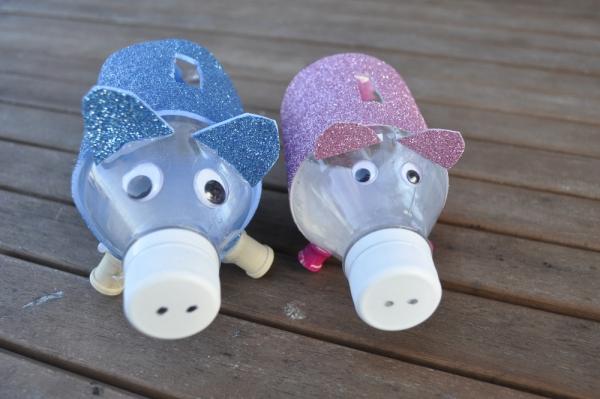 Sparschwein basteln – So haben Sie zu Silvester bestimmt Schwein plastikflaschen schweine dosen diy
