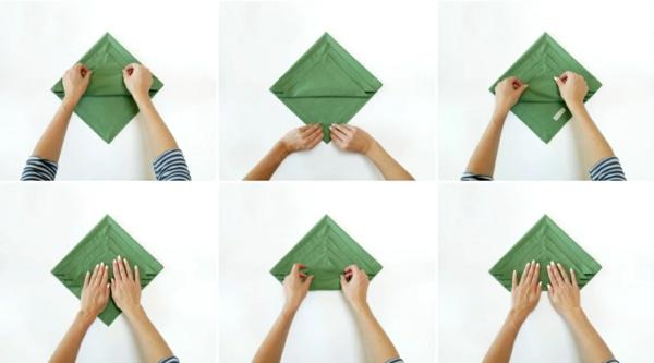 Tannenbaum Servietten falten Stoffserviette Anleitung Schritt 4