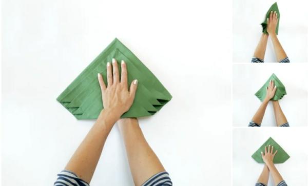 Tannenbaum Servietten falten Stoffserviette Anleitung Schritt 5