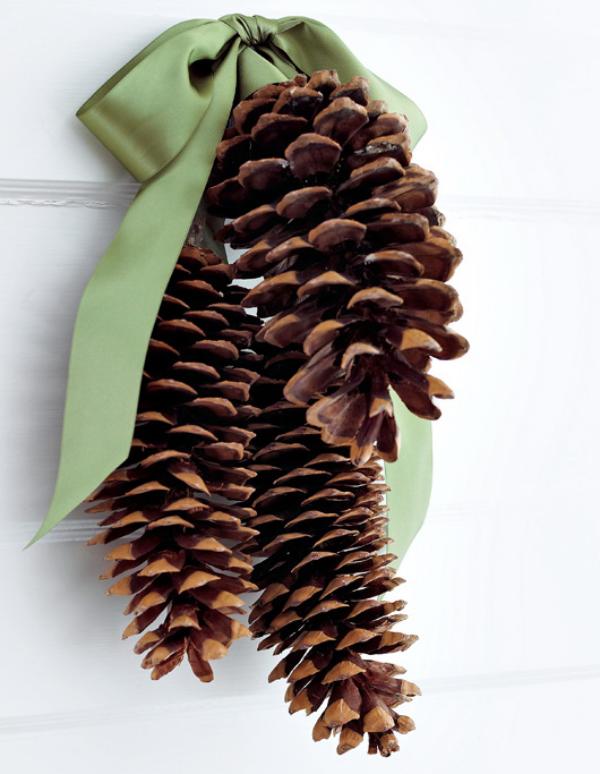 Tannenzapfen Winterdeko Gaben der Natur drei Zapfen mit einer grünen Schleife an der Wand