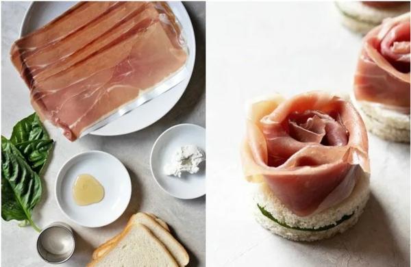 Weihnachtliche Vorspeise zubereiten 10 einfache festliche Fingerfood Ideen Prosciutto-Sandwiches