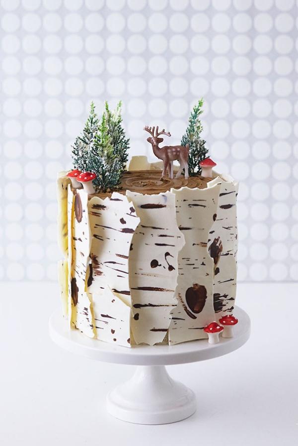 Weihnachtliches Dessert – Weihnachtsbaumstamm und andere köstliche Rezeptideen zum Genießen birkenrinde schoko rinde deko