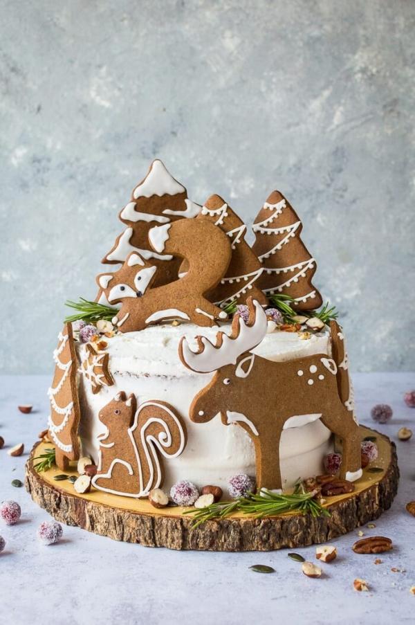 Weihnachtliches Dessert – Weihnachtsbaumstamm und andere köstliche Rezeptideen zum Genießen rezeptidee mit plätzchen weihnachten wald