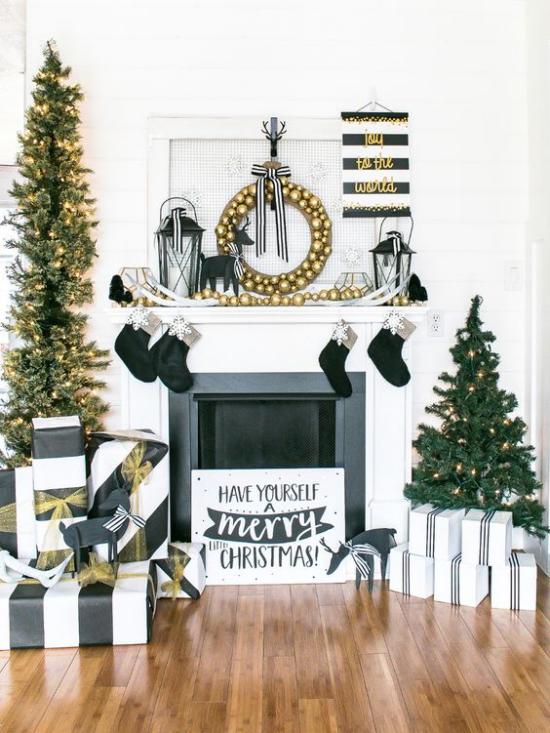Weihnachtsdeko in Gold und Schwarz Tannenbaum Kamin funkelndes Gold und Schwarz spektakuläres Farbduo