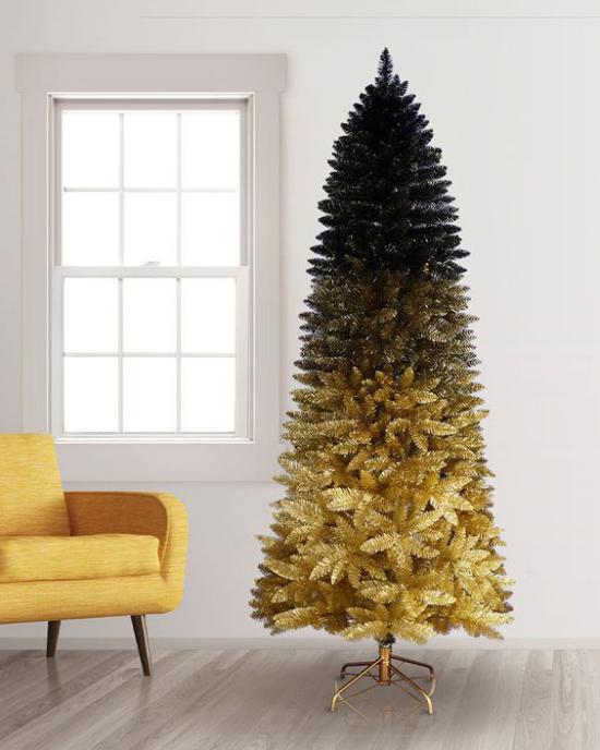 Weihnachtsdeko in Gold und Schwarz Weihnachtsbaum in Ombre-Effekt von unten nach oben gold zu schwarz