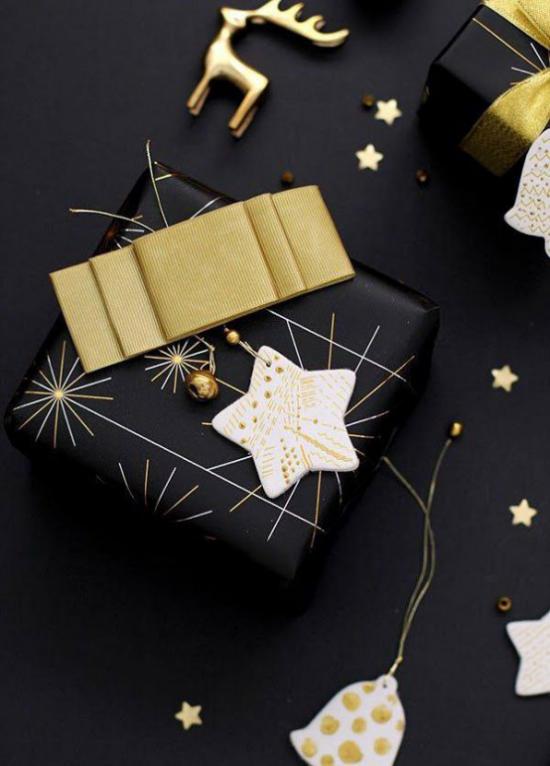 Weihnachtsdeko in Gold und Schwarz kleine Deko Artike ideen