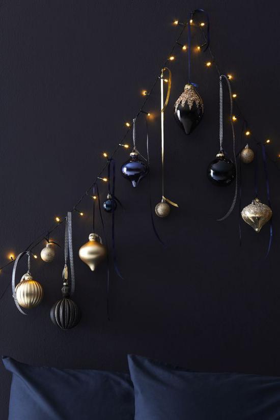Weihnachtsdeko in Gold und Schwarz kleine Deko Artikel in Gold großer dekorativer Effekt auf schwarzem Hintergrund
