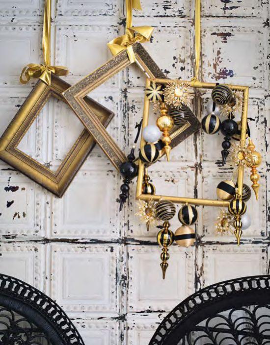 Weihnachtsdeko in Gold und Schwarz kleine Deko Artikel in Gold großer dekorativer Effekt
