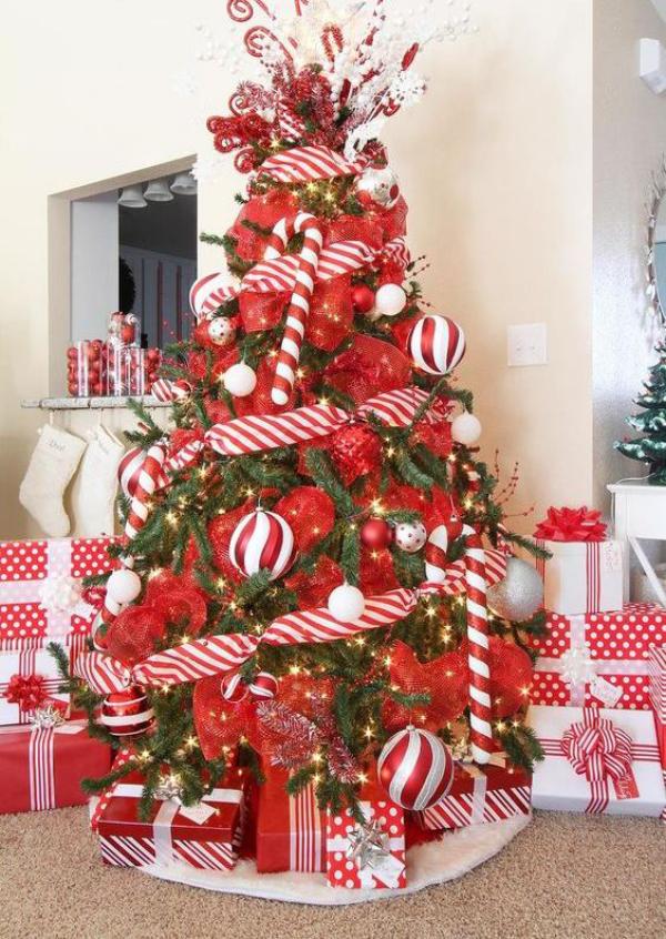 Zuckerstangen lustige Deko Christbaum in Rot und Weiß schmücken ein richtiges Highlight'