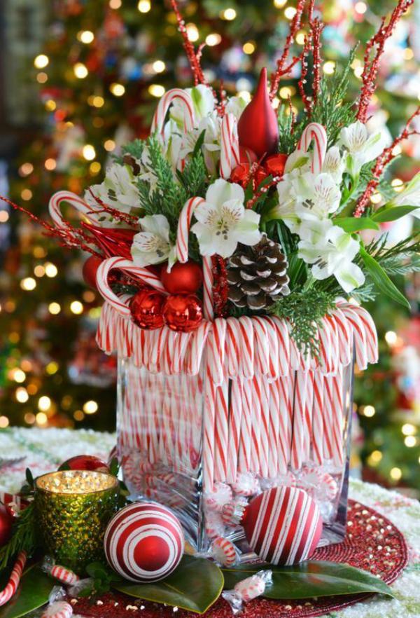 Zuckerstangen lustige Deko großes Glasgefäß voll mit Leckereien Blumen Weihnachtsschmuck