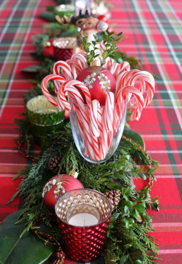 Zuckerstangen lustige Deko im Glas eine schöne Tischdeko grüne Tannenzweige Zapfen Kerzen