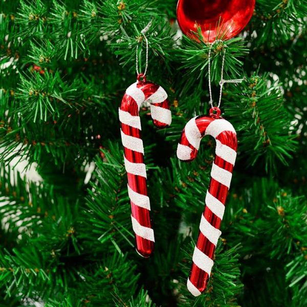 Zuckerstangen lustige Deko tolle Christbaumanhänger rot weiß in Farbe grüne Tannenzweige