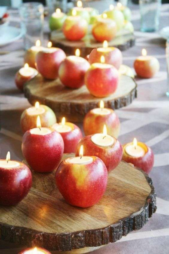 diy tischdeko weihnachten äpfel windlichter
