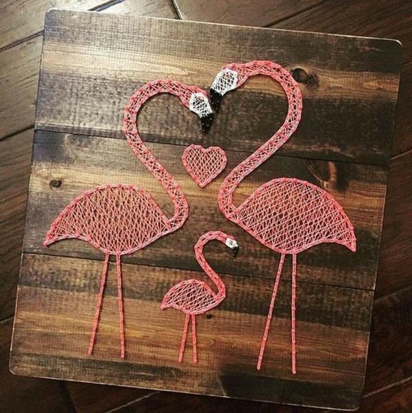 fadenbilder flamingo familie