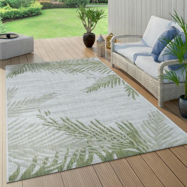 flachgewebe outdoor teppich palmen muster