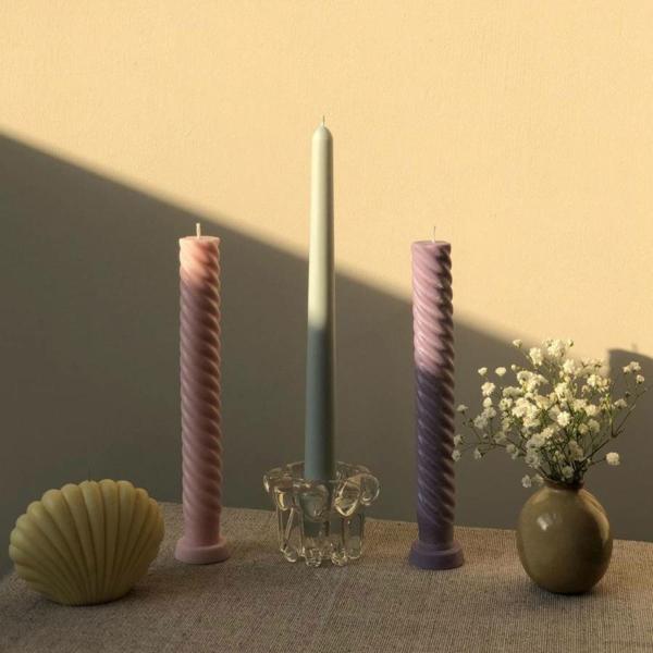 gedrehte Kerzen fabelhafte DIY Twisted Candles Tischdeko