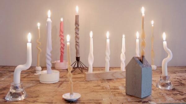 gedrehte Kerzen selber machen DIY Twisted Candles romantische Atmosphäre
