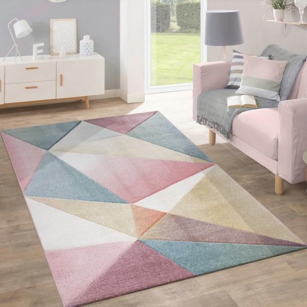 geometrische muster teppich wohnzimmer