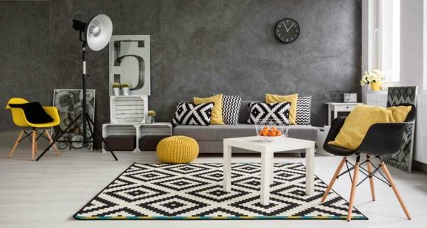 interieur ideen mit gelb und grau pantone farbe des jahres 2021