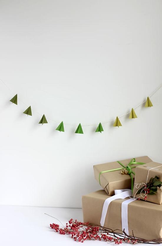 minimalistische girlande tannenbäume aus papier puristische weihnachtsdeko