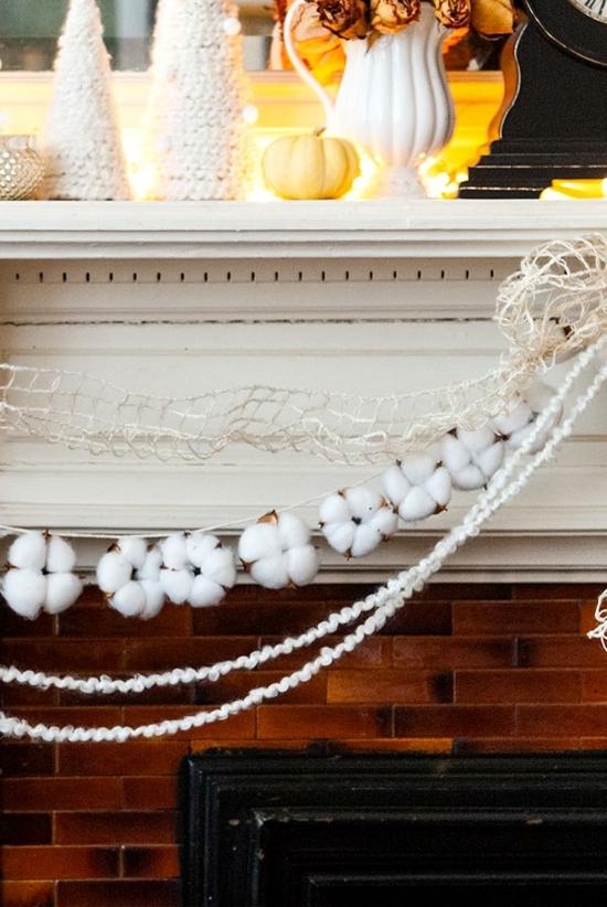 puristische weihnachtsdeko baumwolle girlande