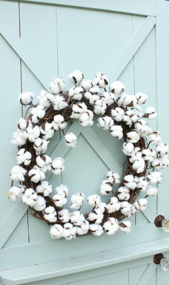 puristische weihnachtsdeko baumwolle kranz
