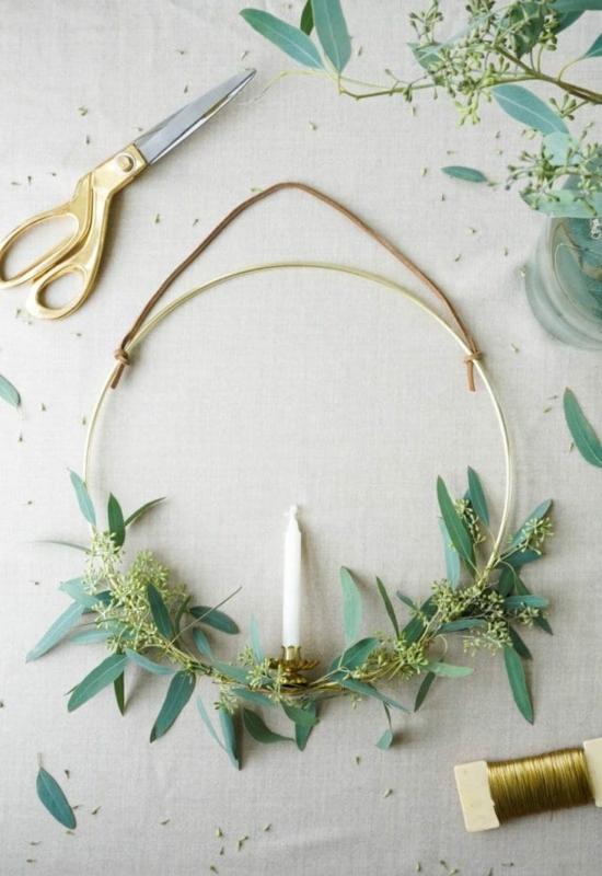 puristische weihnachtsdeko eleganten kranz aus eukalyptus basteln